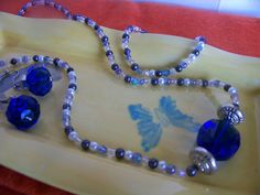 Necklace with Silver, Blue, and Clear Seed Beads with a Large Rectangular Blue Stone by kaysjewelrydesign on Etsy