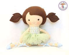 Ballerina Doll Plush - Mia - Made To Order. This shop has the most darling custom made dolls!