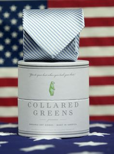 Made in the USA and packaged in 100% recycled goods, Collared Greens ties help make America look as good as you do