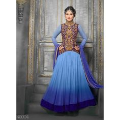 SEM409-42004VandV Exclusive Designer Sky Anarkali Suits
