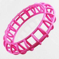 "Anthony Tammaro - Caged Bracelet  - Pink bracelet in selective laser sintered nylon(SLS Nylon). Approx. 3/4"" wide. - 90$  (68€)"