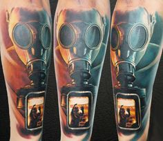 Realistic Mask Tattoo by Levgen Eugene Knysh Ink Studio, Tattoo Studio, Tattoo Images, Tattoo Photos, Gas Mask Tattoo, Laundry Equipment, Trash Polka, World Tattoo, Electric Shock