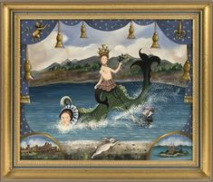 """Mermaids and the Loch Ness Monster. Blue and gold theater curtain design at top border. Central depiction of a mermaid wearing a crown while riding a Nessie""""-styled water dragon as Neptune emerges from the depths Primitive Painting, Ship Paintings, Loch Ness Monster, Water Dragon, The Loch, Chinese Landscape, Underwater Creatures, Naive Art, Sports Art"""