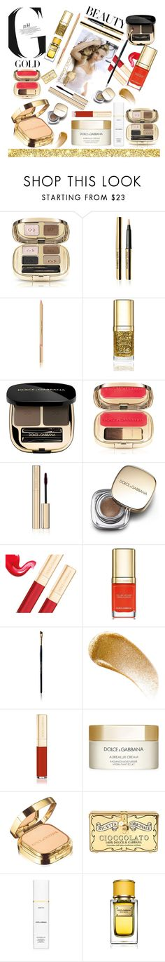 """""""D&G beauty gold rush"""" by ellenfischerbeauty ❤ liked on Polyvore featuring beauty, Dolce&Gabbana, BBrowBar, gold, redlips, GoldBeauty and dolcegabbananeauty"""
