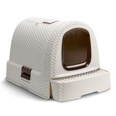 CURVER Rattan Pet Litter Box House, Cream | ACHICA