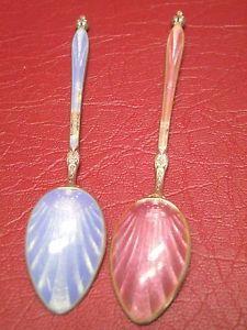 Beautiful Danish Baby Spoon Royal Blue & Pink Enamel Covered 925 Sterling Silver | eBay