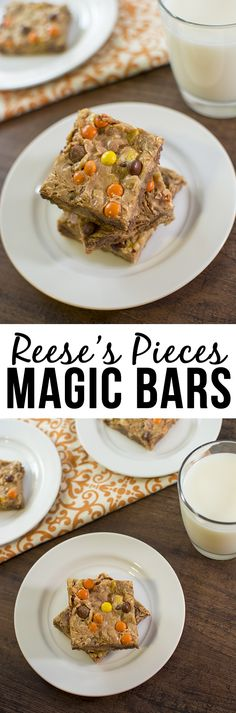 These Reese's Pieces Magic Bars are the amazing combo of peanut butter chocolate and sweetened condensed milk in a delicious bar form.
