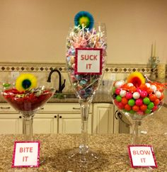 Fun candy table for a bachelorette party. Decorates the cake table well.Contact…
