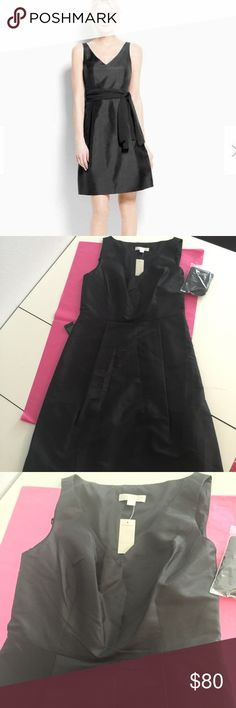 """Size 6 Ann Taylor Silk Dupioni Gown """"Slubby silk Dupioni"""" features an always flattering V neck and a hint of sheen. Comes with self tie chiffon sash. 22.5"""" from natural waist. Pockets!! Ann Taylor Dresses Midi"""
