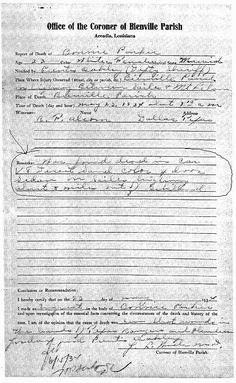 Bonnie's death certificate - most people don't think about the fact that she was only 23 when she and Clyde were ambushed and killed!