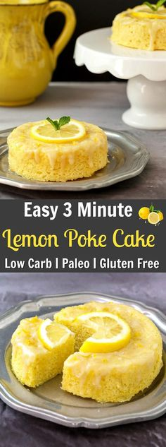 3 Minute Lemon Poke Cake Low Carb & Paleo- A fast and simple tasty treat!