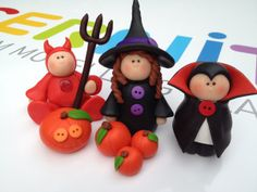 Halloween - Ideas Devil, Witch and Dracula Sculpey Clay, Polymer Clay Figures, Polymer Clay Projects, Polymer Clay Creations, Polymer Clay Art, Polymer Clay Jewelry, Polymer Clay Halloween, Halloween Crafts, Halloween Halloween