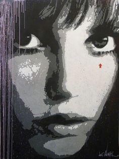 """Jef Aérosol -  """"Jane Birkin""""  (2013)       (Pochoir sur toile. 200 x 150 cm)"""
