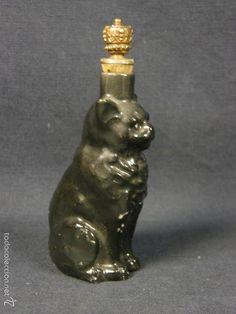 botella porcelana gato negro miniatura perfume esencia tapón corcho metal corona ppios s XX 8,5x4x3c - Foto 1