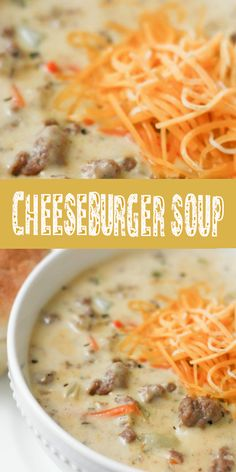 This cheeseburger soup recipe has all the flavors of amazing cheeseburger in a delicious soup the whole family will love! This cheeseburger Soup is a low carb and keto friendly soup that everyone will enjoy! Cheese Burger Soup Recipes, Chicken Soup Recipes, Healthy Soup Recipes, Cooking Recipes, Cheese Soup, Potato Recipes, Simple Soup Recipes, Recipes With Bacon, Cheddar Cheese Recipes