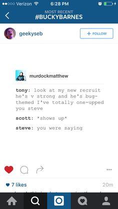 Scott: *turns into Giant Man* | Steve: I think I win, Tony