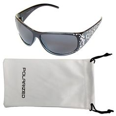 5458288f0a Vox Womens Polarized Sunglasses Designer Fashion Eyewear Free Microfiber  Pouch Black Blue Frame Smoke Lens