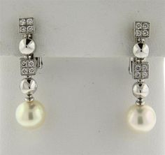 Bvlgari Bulgari 18k Gold Lucea Diamond Pearl Earrings Featured in our upcoming auction on July 26!