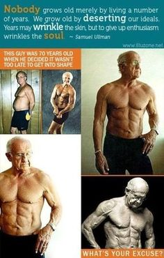 It's never too late to get in shape! Also visit this page to learn more about the science of aging slower by working out less --> https://plus.google.com/108217645267372137616/posts/eLxdaEL8zwg