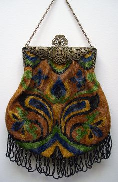 Clever Antique Art Nouveau Gold Filigree Frame Hand Knit Brown Iridescent Bead Purse Vintage Accessories