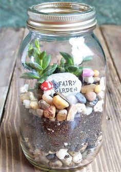 Click Pin for 28 Spring Crafts for Kids | DIY Fairy Garden in a Mason Jar | Spring Craft Ideas for Preschoolers