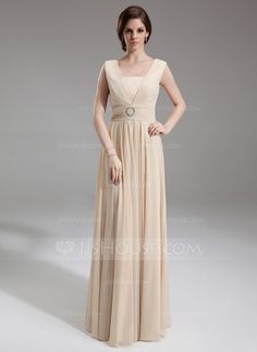 A-Line/Princess Square Neckline Floor-Length Chiffon Mother of the Bride Dress With Ruffle Beading (008005992)