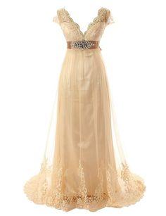 Diyouth Long Chiffon Lace V Neck Wedding Dress Bowknot Belt 22 Plus Size
