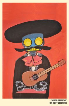 Robots & Friends Robot Mariachi Print now featured on Fab. Wall Candy, Pin Pics, Some Pictures, Tech Accessories, Illustration Art, Artsy, Cool Stuff, Handmade Gifts, Frame