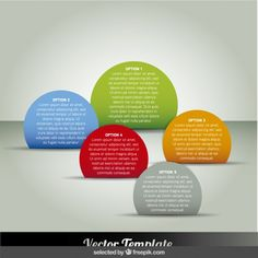Five circular infographic steps Free Vector