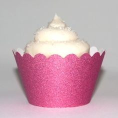 Platinum Glitter Baby Pink Reusable Cupcake Wrappers