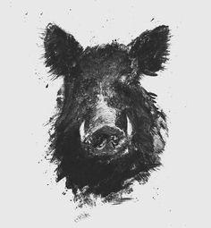 Wild hog by Art Loft on Creative Market - - Legend Of Zelda Characters, Hog Hunting, Hunting Art, Art Loft, Wild Boar, Woodland Creatures, Wildlife Art, Sleeve Tattoos, Tatoos
