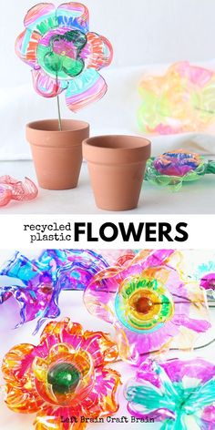The magic of science makes these recycled plastic flowers beautiful. It's a great STEM / STEAM project for kids. Perfect for classroom auction projects, class art projects, Mother's Day gifts, and more. art projects for kids earth day preschool crafts Fun Crafts For Kids, Toddler Crafts, Crafts To Do, Art For Kids, Art Projects For Toddlers, Kids Craft Projects, Craft Ideas, Garden Crafts For Kids, Teen Crafts