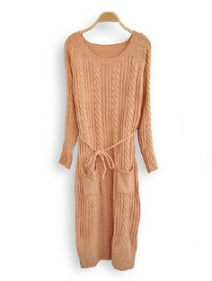 Pink Long Sleeve Drawstring Waist Pockets Cable Knit Sweater Dress $40