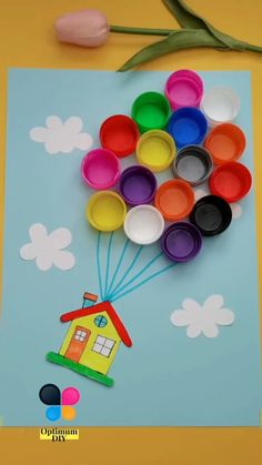 Required materials: Bottle Cap,Craft Glue(link),Colored Cardstock Toddler Paper Crafts, Flower Crafts Kids, Hand Crafts For Kids, Cute Kids Crafts, Craft Activities For Kids, Creative Crafts, Preschool Crafts, Art For Kids, Bottle Cap Crafts