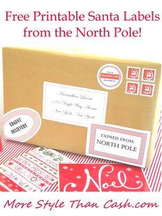 Free santa labels pinterest north pole free printables and santa free santa labels negle Choice Image