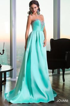 Jovani 22733 Dress Satin Crystal Beads Strapless Sweetheart Neckline. Abiti  Da Sera 5970ea69a06