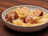 Sauerkraut baked with smoked sausage and apples.. It's whats for New Years Supper :)