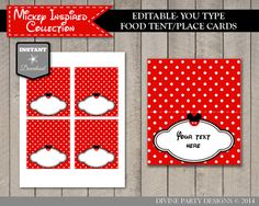INSTANT DOWNLOAD Editable Mickey Mouse Food Tent or Place Cards by DivinePartyDesign, $3.00. Printable DIY.