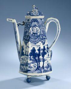 Koffiekan in onderglazuur blauw naar Delfts voorbeeld, anoniem, 1690 - 1710