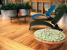 terrasse en bois avec des chaises longues et plantes succulentes