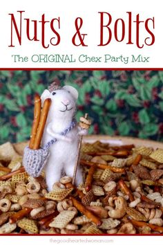 Nuts & Bolts - The Original Chex Party Mix The Good Hearted Woman Christmas Party Finger Foods, Christmas Appetizers, Christmas Snacks, Christmas Cooking, Chex Party Mix, Chex Mix, Appetizer Recipes, Snack Recipes, Tailgating Recipes