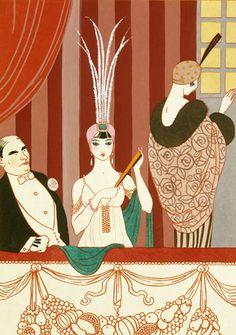 George Barbier (1882-1932) - French Art Deco Fashion Illustrator -  La Loge