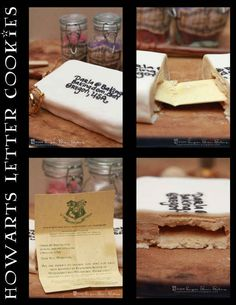 """Hogwarts Letter Cookies   46 """"Harry Potter""""-Inspired Treats You Should Be Making. This is super cool. I gave someone a necklace with a Hogwarts duplicate letter with their name on it for Christmas once but it makes me wish I had done it on their birthday and knew about this idea."""