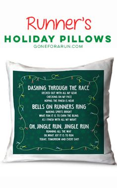 Get in the holiday spirit with Runner's Christmas Pillows, exclusively from Gone For a Run!