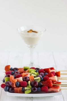 Fruit Kabobs with Almond Milk Whipped Cream - The Cookie Writer