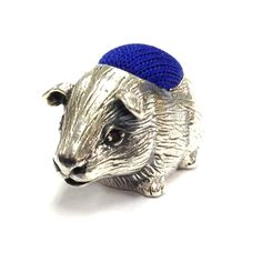 Cute Small Guinea Pig Figure Pin Cushion Ruby Eyes 925 Solid Sterling Silver | eBay