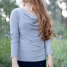 Features a pleated cowls neck with long sleeves. Cowl Neck, Long Sleeve Shirts, Ruffle Blouse, Fancy, Cute, Sleeves, Tops, Women, Fashion