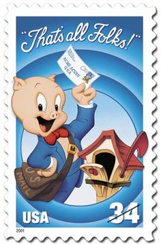 The fifth and final stamp in the USPS' Looney Tunes series pictured cartoondom's stuttering swine, Porky Pig, as a mail carrier wearing a leather U.S. mailbag and standing near a weathered wooden mailbox. The Looney Tunes Porky Pig stamp, issued on October 1, 2001, was part of the USPS' 2001 National Stamp Collecting Month kickoff.
