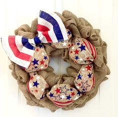 Fourth of July Wreath, Patriotic Wreath, Stars and Stripes, Red White and Blue, Front Door Wreath, Summer Wreath, Burlap Wreath, America by JennysWreathBoutique on Etsy https://www.etsy.com/listing/273782228/fourth-of-july-wreath-patriotic-wreath