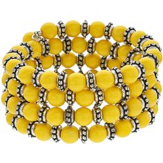 Yellow Bead Coil Bracelet (84 PEN) ❤ liked on Polyvore featuring jewelry, bracelets, silver, beading jewelry, yellow bangles, beads jewellery, beaded jewelry and yellow jewelry